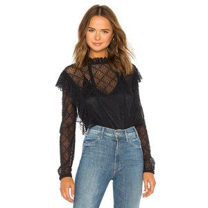 Free People black ruffle lace-like sheer bodysuit
